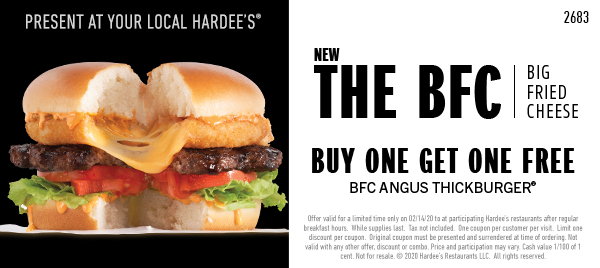 Buy One Get One Big Fried Cheese Angus Thickburger Free Coupon