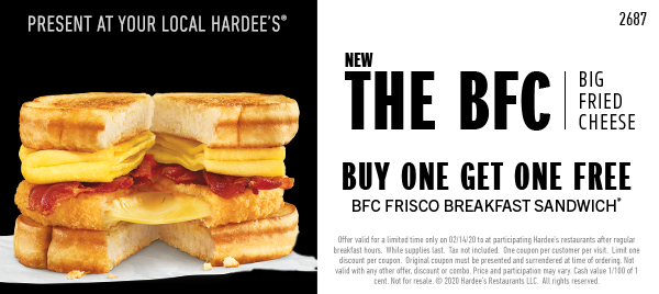 Buy One Get One Big Fried Cheese Frisco Free Coupon
